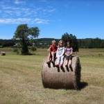 Kids on hay bale