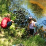 Kids catching crayfish