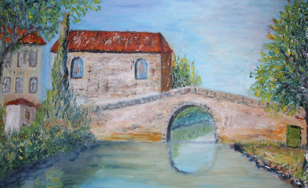 Mom bought a painting, subject Canal du Midi