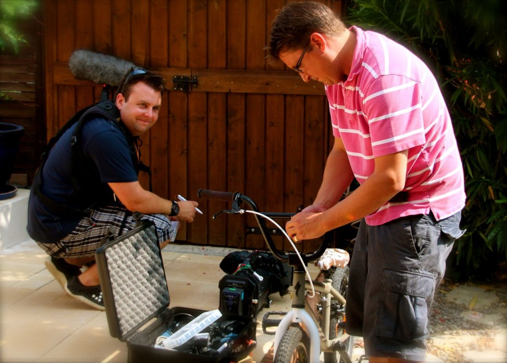 The boys set up a GoPro for Daniel's bike to show his delivery service