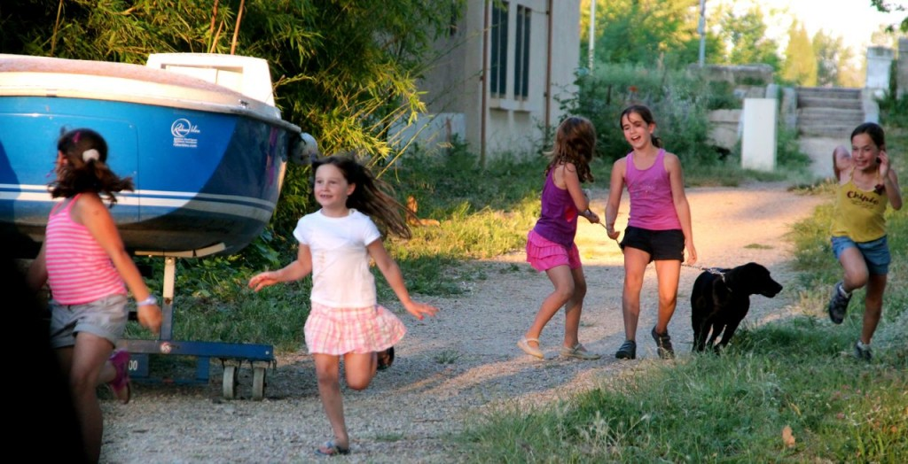 The girls run around during fete