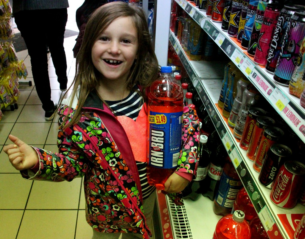 What happens when you give a seven year old, a can of Irn bru?