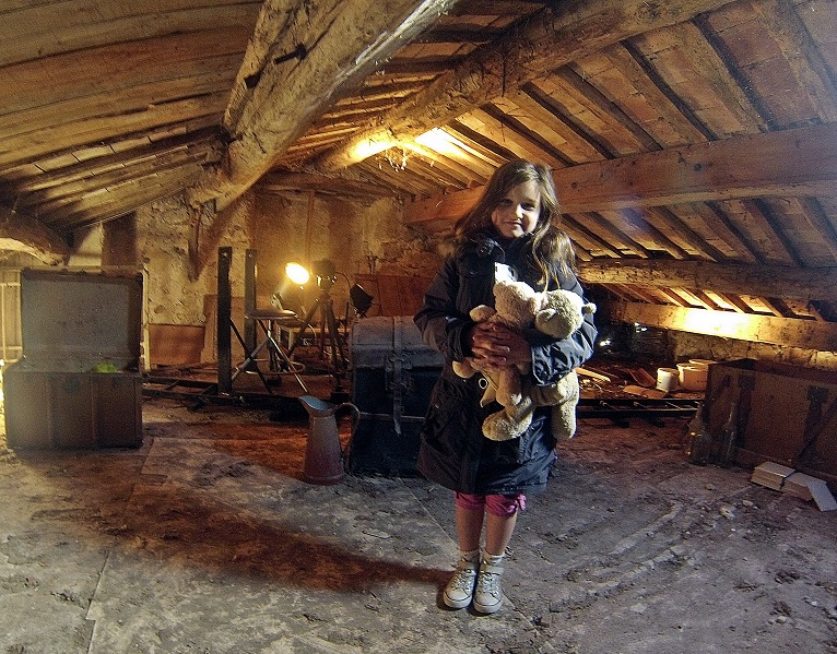 Angelina working in the freezing attic