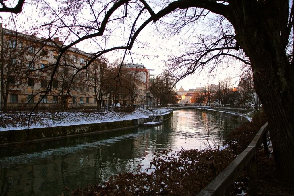 Ljubljana River, winter stroll