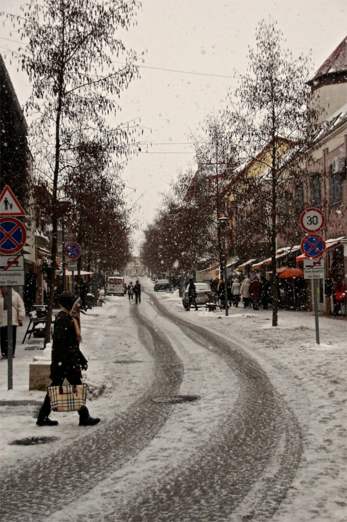 snowing in Heviz during the holidays