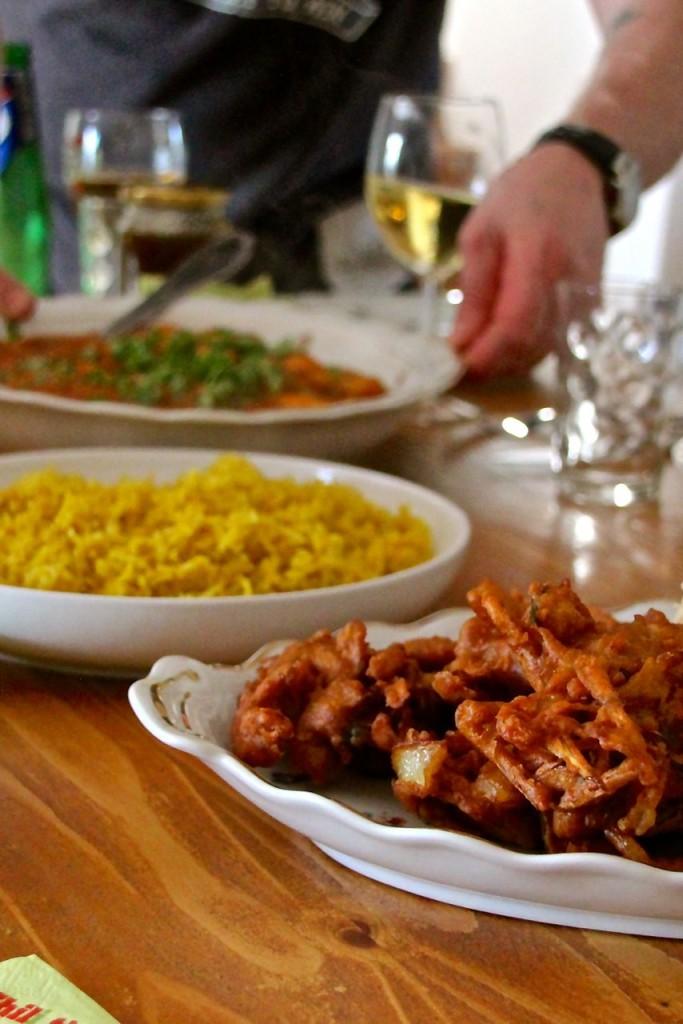 Chillis and SpicePakoras and lemon ginger rice