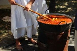 a big pot of traditional goulash soup