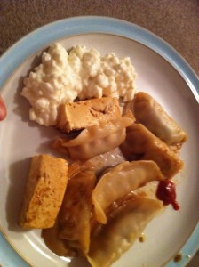 fried tofu, veggie potstickers and cottage cheese