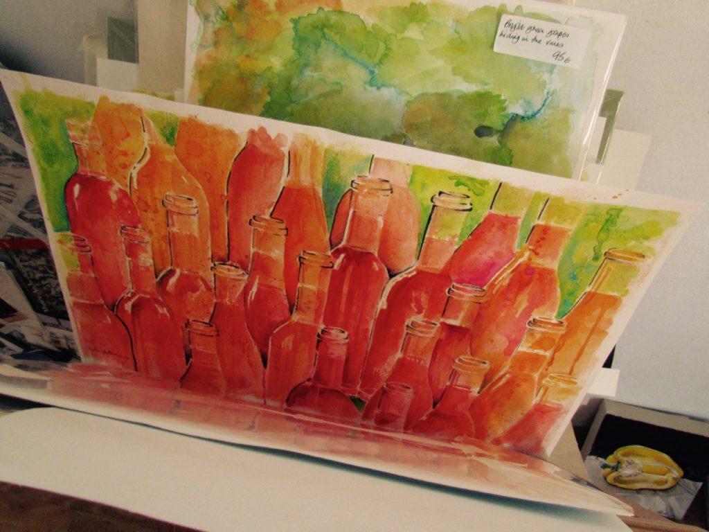 rose bottle painting