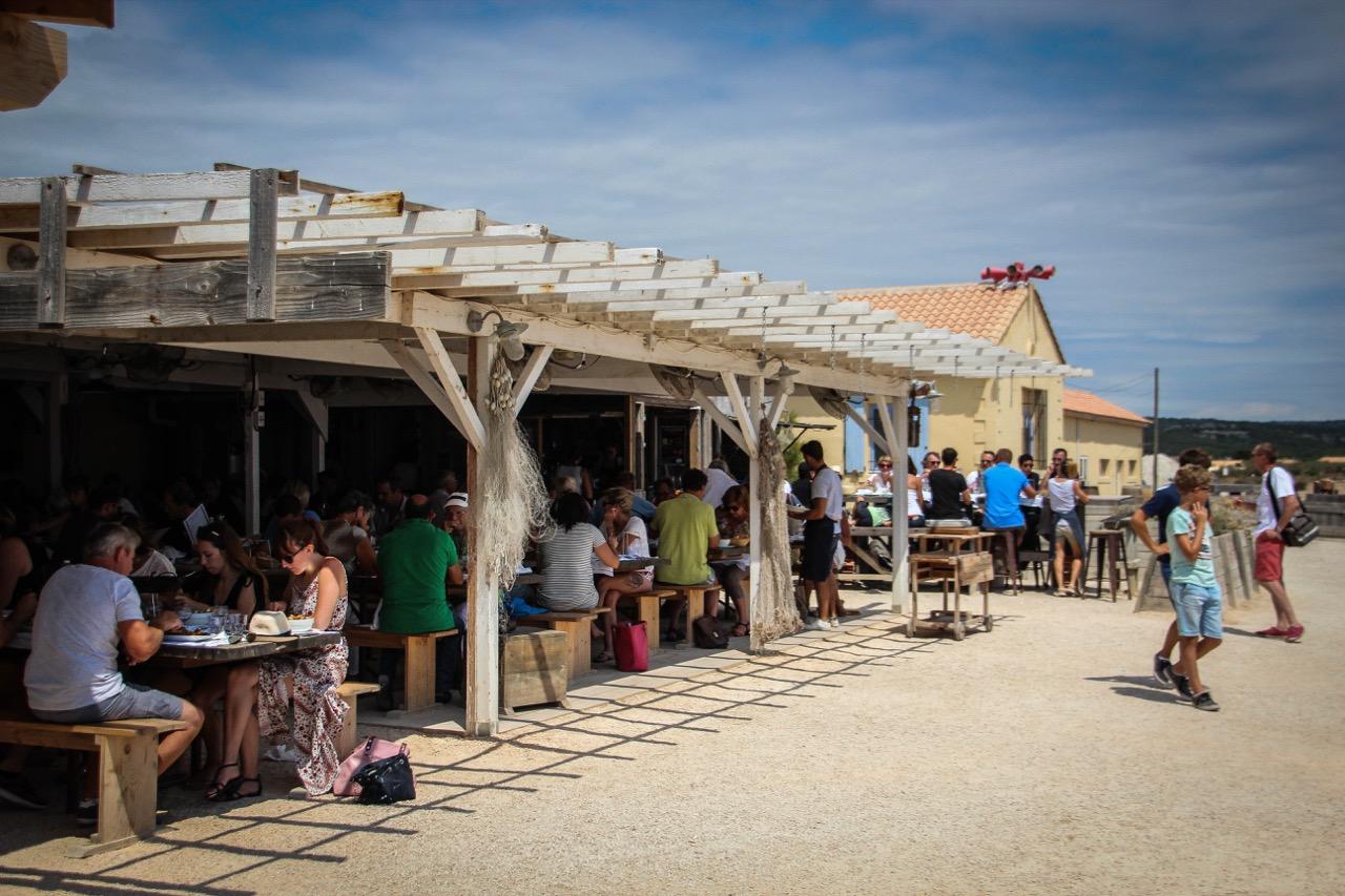 Gruissan's restaurant on the red salt shore